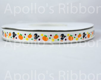 "Little Crows and Pumpkins grosgrain ribbon 3/8 halloween, fall, 3/8"" inch"
