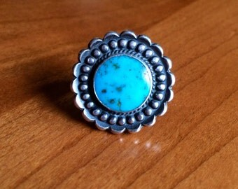 Vintage native american turquoise flower ring sz 7