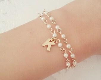 Personalized bracelet, initial, friendship bracelet, bridesmaid bracelet, two pearlchain initial bracelet