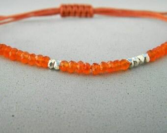 Cornelian bracelet.Gemstone bracelet.Sterling silver bracelet.Tiny silver bead bracelet.Friendship bracelet. Tiny silver faceted beads.GE003