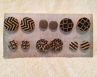 Wooden Button Earrings
