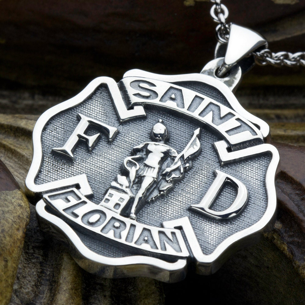 Large Maltese Cross Firefighter Saint Florian Sterling Silver