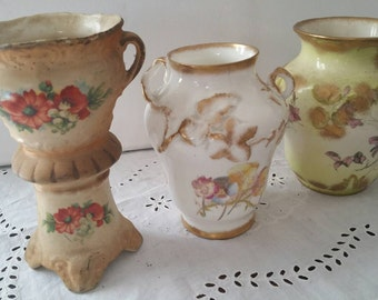 Set Of 3 Old Bud Vases