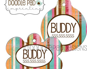 Colorful Pet Id Tag, Striped Dog ID Tag