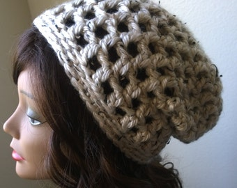 Crochet Oatmeal Colored Open Stitch Chunky Slouch Hat