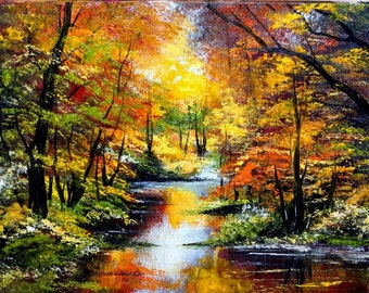 Original landscape oil paintings forest in autumn