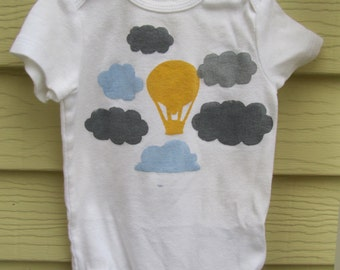 Hand Painted Gender Neutral Hot Air Balloon and Clouds Onesie Bodysuit