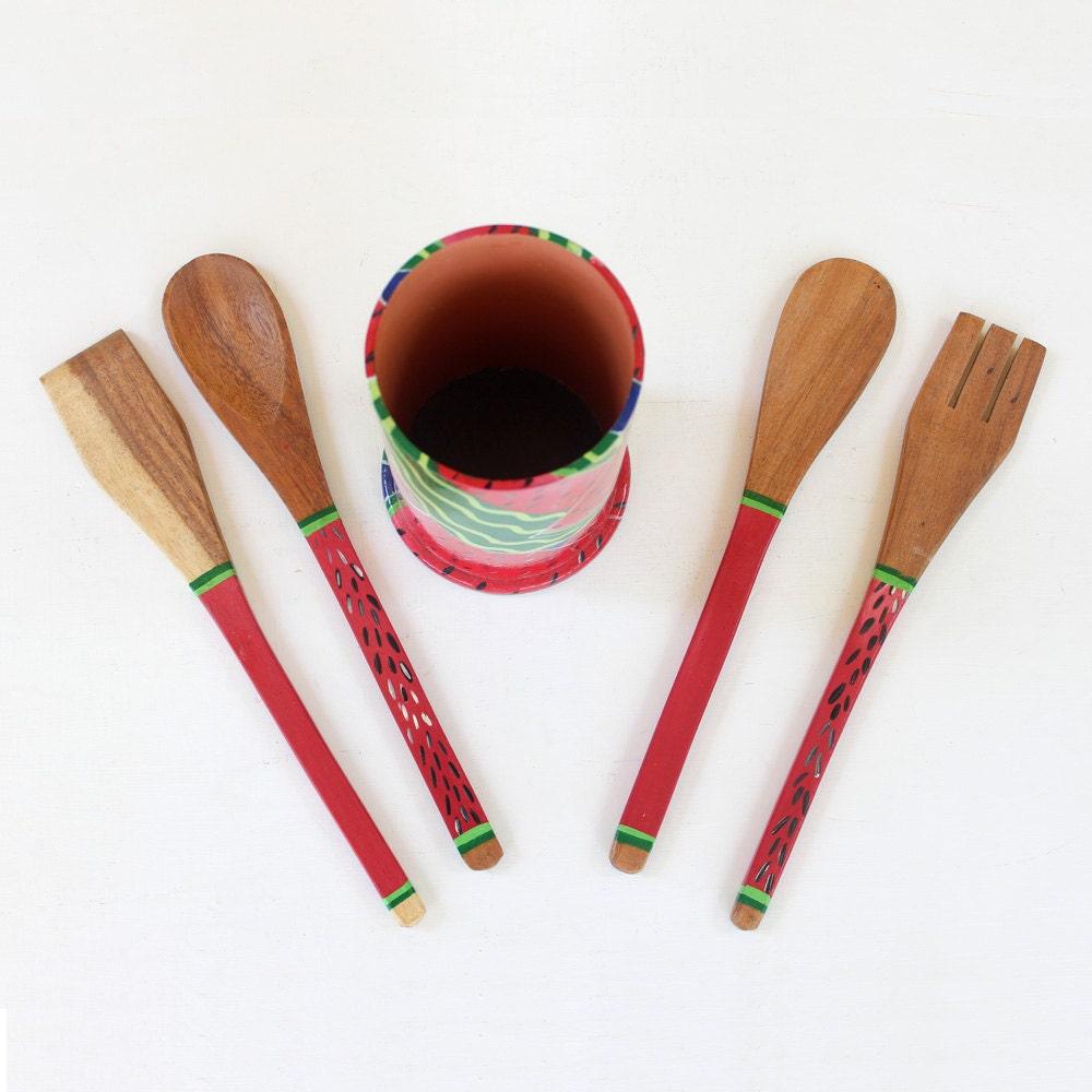 Watermelon kitchen utensil holder wooden by eltallerdemanana - Unique kitchen utensil holder ...