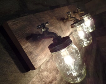 "24"" 3 Mason Jar Light Fixture Faucet Style Country Reclaimed OAK Barn board"