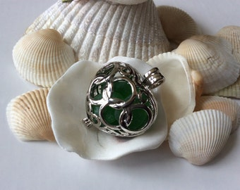 Emerald Green Tumbled Surf Beach Glass in Silver Heart Hollow Pendant