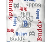 Personalized Dog Blanket with Name and Monogram You Choose Colors for your Pet Washable Fleece Fabric in Two Sizes