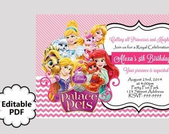 EDITABLE TEXT Palace Pets Birthday Invitation - Palace Pets Invites - Palace Pets Invite -Instant Download