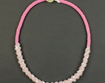 Kumihimo Candy Pink & Crystal Necklace