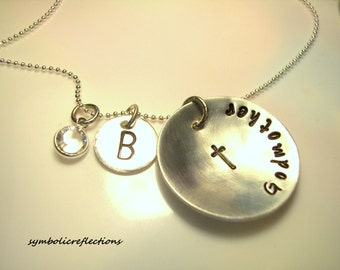 Personalized Godmother necklace, Godmother Jewelry, Hand Stamped Gift, Gift for her, Baptism gift, Godmother gift - Godmother Present