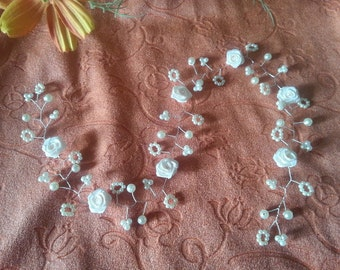 Wedding, communion, hair Garland with pearls and flowers, color choice