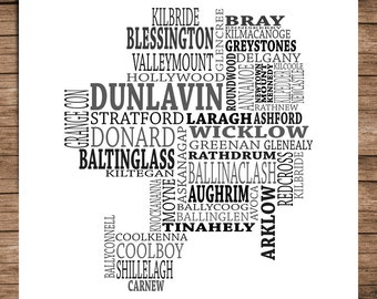 Wicklow - Typographical Map of County Wicklow, Ireland