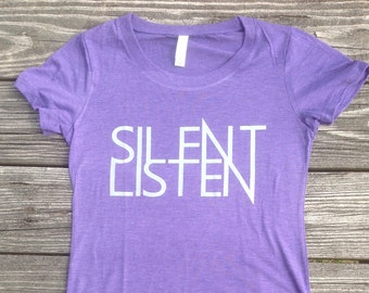 Womens shirt silent listen anagram typography by majesticgifts for Ithaca t shirt printing