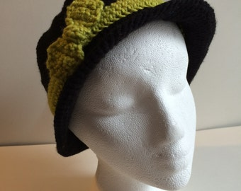 Black Crocheted Cloche with Green Ribbon
