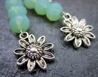 Seafoam Green Earrings with Flower - E-0001