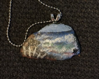 Hand Painted Sea Glass Pendant