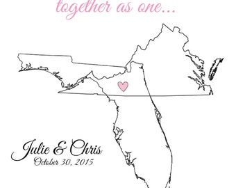 Customizable Artwork - Overlapping States for Weddings, Graduations, etc *DIGITAL FILE*