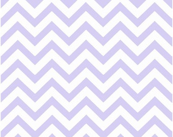 1/2 Yard Light Purple and White Chevron Fabric - Premier Prints Wisteria and White Zig Zag Chevron Fabric lavender HALF YARD