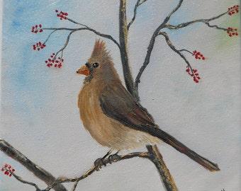 Female Cardinal - Original Oil Painting 8 x 10