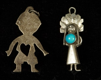 2 Small Silver Charms - 1 with Turquoise Stone