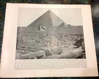 The Pyramids and Sphinx Egypt Photo Engraved Print by A Zeese Company Glimpses of the World 1892