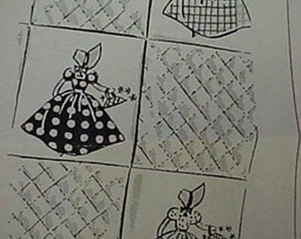 Vintage Quilt Quilting Pattern SunBonnet Belle Lady Embroidery Applique 1940s SQK~901
