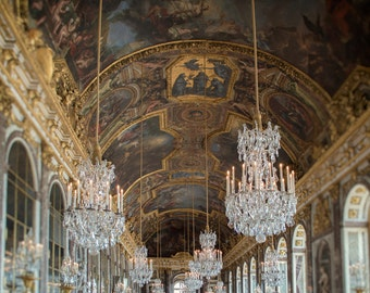 Palace of Versailles Hall of Mirrors Print, Crystal Chandeliers, Paris Photograph, French Wall Art