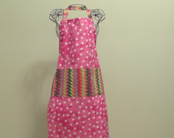 Child's 9/10 Apron with Pink Polka Dots  (# 455 )