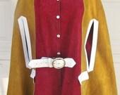 MOD Vintage 1960s Boho, Suede Leather MOD Cape, HIPPIE Poncho, Coat Size Medium