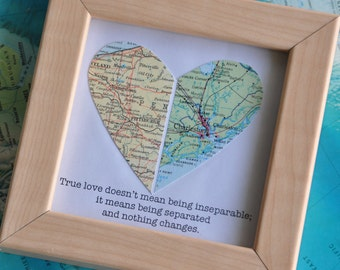 Personalized Boyfriend, Gift for Boyfriend, Long Distance Relationship Gift, Long Distance Framed Map Heart Gift with Custom Text Quote Gift