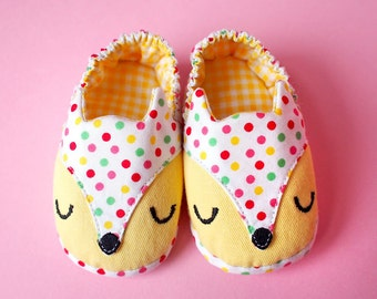 Prewalker Shoes, Fox Shoes, Baby Shoes, Elastic Baby Booties, Yellow Booties, Polka Dot Shoes, The Fantastic Fox 07