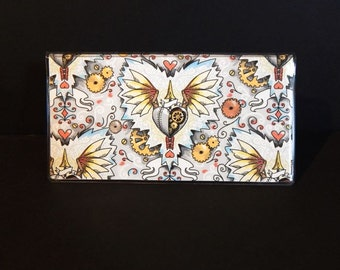 Checkbook Cover - Steampunk Winged Hearts - clockwork steam inspired checkbook holder - purse accessory