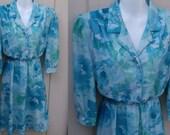 Vintage 70s semi sheer Blue Floral SECRETARY DRESS / Day Dress by Looks // Ladies sz Med 8 - 10