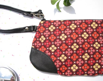 Wristlet clutch leather strap, wristlet, travel, red - Tulip,  SALE