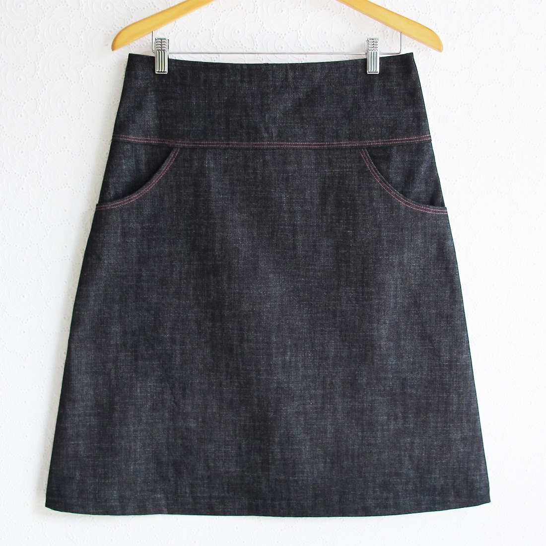 blue denim skirt s medium a line skirt
