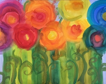 ART Spring Flowers and Ferns Original Watercolor and Gouache Painting Artwork