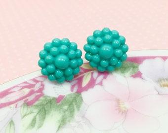 Bubble Stud Earrings, Aqua Flower Earrings, Turquoise Flower Earrings, Bubble Flower Earrings, Sensitive Ear Studs, Vintage Cabochon Studs