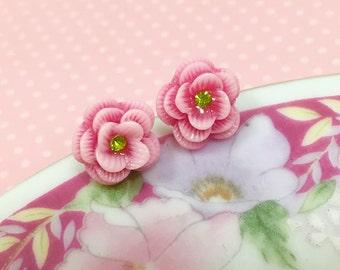 Pink Rose Studs, Rhinestone Flower Studs, Pink Flower Studs, Pink Flower Earrings, Sensitive Ear Studs, KreatedByKelly (SE3)