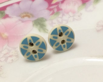 Blue Daisy Stud Earrings, Button Stud Earrings, Blue Flower Stud Earrings, Surgical Steel Studs, Button Jewelry, Kreatedbykelly (SE3)