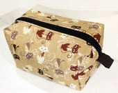 Medium Boxy Project Bag - Tan/Brown Modern Cats - For Crafts or Travel