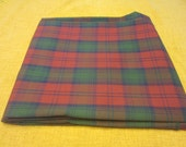 Three yards 44 inch wide red and green plaid cotton blend fabric