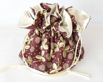 Jewelry Drawstring Travel Bag, Tote, Pouch Prairie Rose  Extra Large