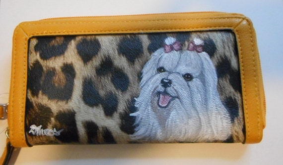 Maltese Dog Hand Painted Ladies Women's faux Leather Wallet Vegan