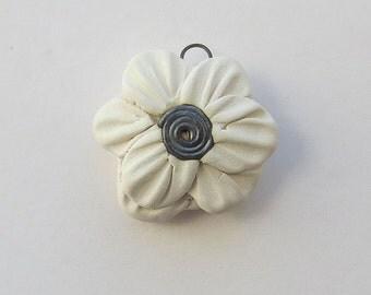Frida Flower Pendant Handbuilt Ceramic White   by Mary Harding