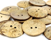 3 Light Natural Coconut Shell Buttons  50mm 5cm 2 inches - 2 holes - 3 pcs Big Brown