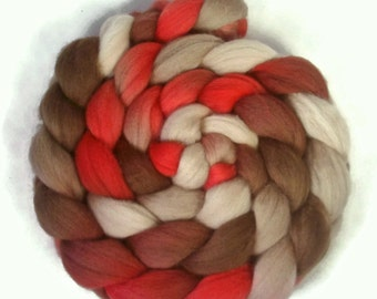 Handpainted Polwarth Wool Roving - 4 oz. CHERRY COLA - Spinning Fiber